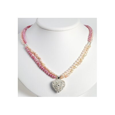 Jewelryweb Lavender Peach Pink Cultured Pearl Heart Necklace - 27 Inch- Lobster Claw