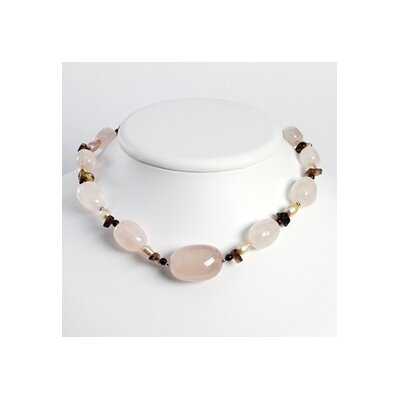 Jewelryweb Rose Quartz Smoky Topaz Garnet Cultured Pearl Necklace 16 In - Lobster Claw