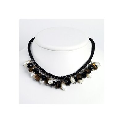 Smokey Quartz Black Bead Cult. Pearl Necklace - 15 Inch- Lobster Claw