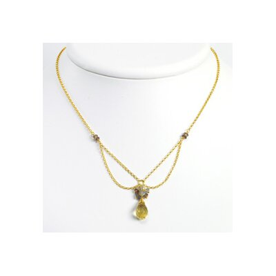 Vermeil Lemon Smokey Quartz Labradorite Necklace 16 Inch- Lobster Claw