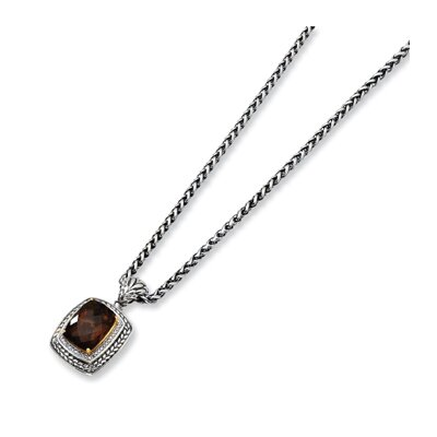 St. Silver 14k Yellow Smokey Quartz Antiqued 18 InchPendant