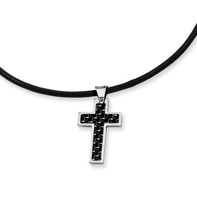 Stainless Steel Carbon Fiber Cross Pendant- 18 Inch