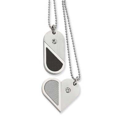 Jewelryweb Stainless Steel Dog Tag Heart Convertible Necklace - 22 Inch
