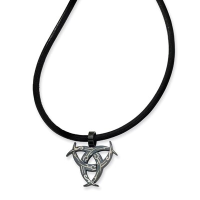 Stainless Steel Etched Black Color IP-plated Necklace 18 In