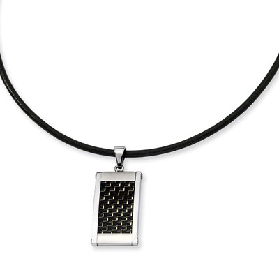 Jewelryweb Stainless Steel Gold Black color Carbon Fiber Pendant18 In