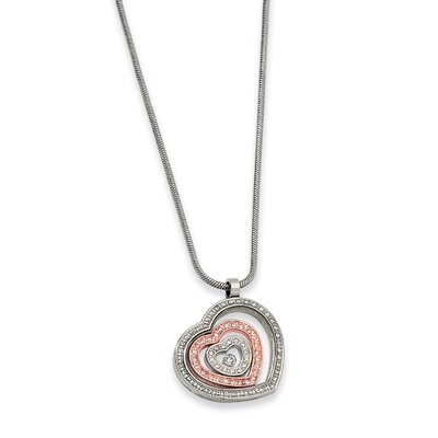 Stainless Steel IP-plated CZ Heart Necklace - 18 Inch