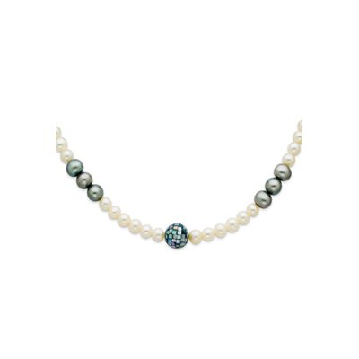 Jewelryweb Ster. Silver Grey White Cultured Pearls MOP Necklace - 20 Inch- Pearl Clasp