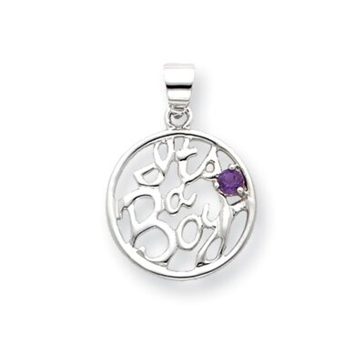 Jewelryweb Sterling Silver Amethyst Its a Boy Pendant