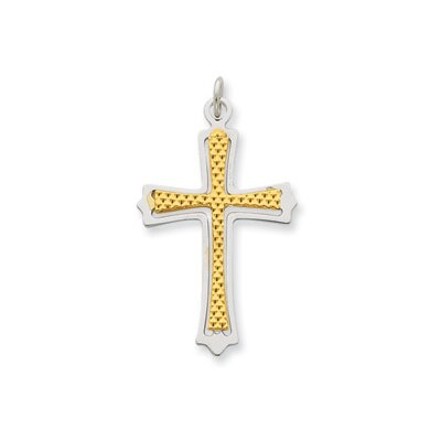 Jewelryweb Sterling Silver and 18k Gold -plated Cross Pendant
