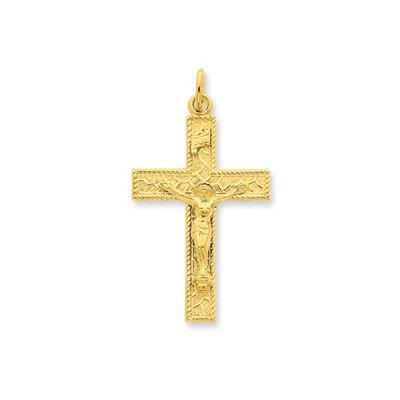 Jewelryweb Sterling Silver and 24k Gold -plated INRI Crucifix Pendant