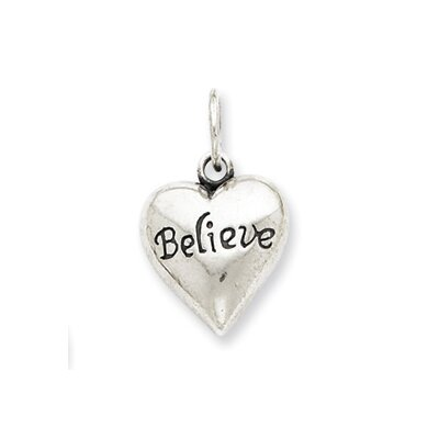 Jewelryweb Sterling Silver Antiqued Believe Pendant