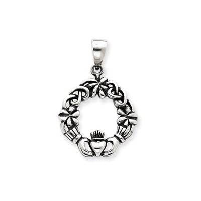Jewelryweb Sterling Silver Antiqued Claddagh Pendant