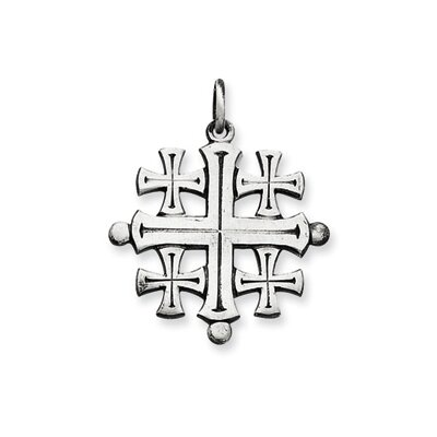 Jewelryweb Sterling Silver Antiqued Jerusalem Cross Pendant
