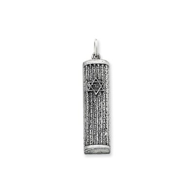 Jewelryweb Sterling Silver Antiqued Mezuzah Pendant