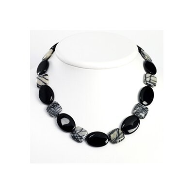 Sterling Silver Black Agate Zebra Jasper Necklace - 17 Inch- Toggle