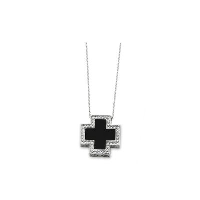 Sterling Silver Black Onyx CZ Cross Necklace - 18 Inch