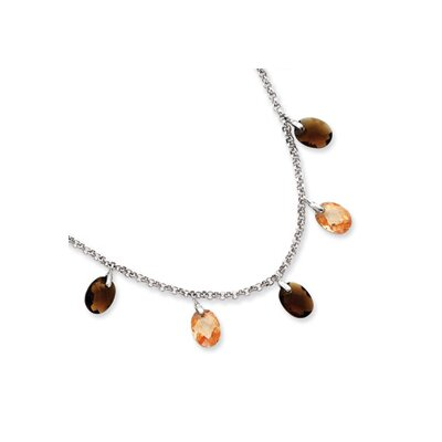 Jewelryweb Sterling Silver Brown and Champagne CZ Necklace - 16 Inch- Spring Ring