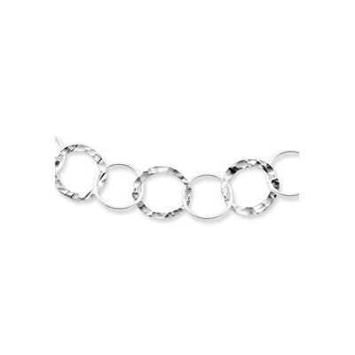 Sterling Silver Circle Link Necklace - Spring Ring