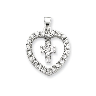 Jewelryweb Sterling Silver CZ Heart and Cross Pendant