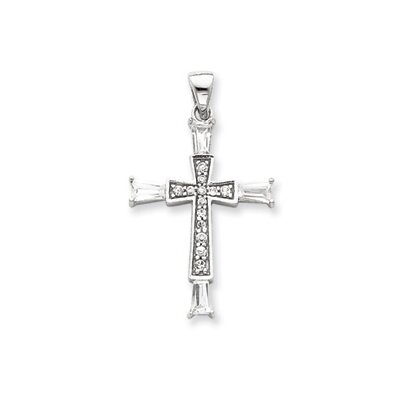 Jewelryweb Sterling Silver CZ Latin Cross Pendant