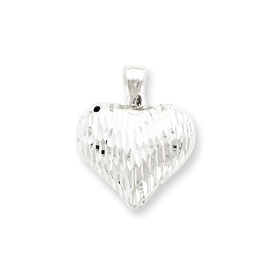 Jewelryweb Sterling Silver Diamond-Cut Puffed Heart Pendant