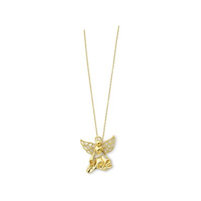 Sterling Silver Gold-plated CZ Angel Necklace - 18 Inch