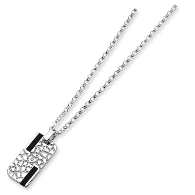 Jewelryweb Sterling Silver Onyx and Diamond PendantNecklace