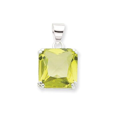 Jewelryweb Sterling Silver Square Light Green CZ Pendant