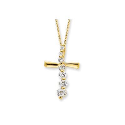 Jewelryweb Sterling Silver Vermeil Cross Journey Necklace - 18 Inch- Spring Ring