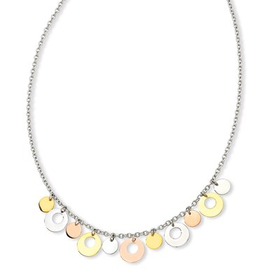 Stls Steel Gold Rose Color IP-plated Circle Necklace 18 In