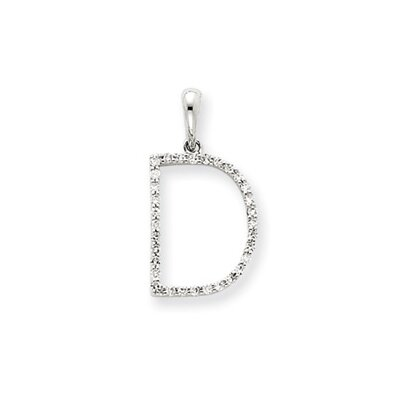 Jewelryweb 14k White Gold Diamond Initial D Pendant