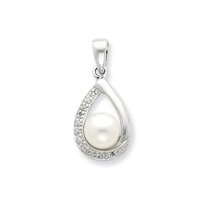 Sterling Silver 6mmFW Cultured Pearl and Diamond Teardrop Pendant