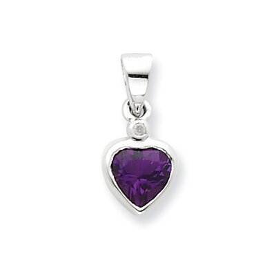 Jewelryweb Sterling Silver Rhodium Amethyst Diamond Pendant