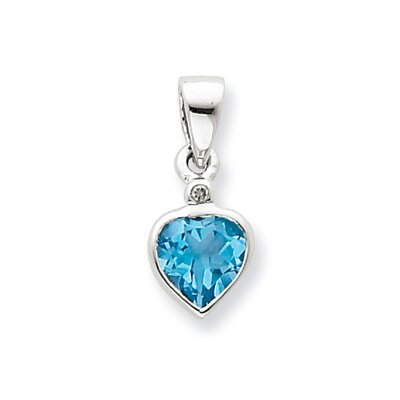 Jewelryweb Sterling Silver Rhodium Light Swiss Blue Topaz Diamond Pendant