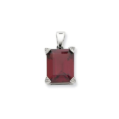 Jewelryweb Sterling Silver Rhodium Garnet Diamond Pendant
