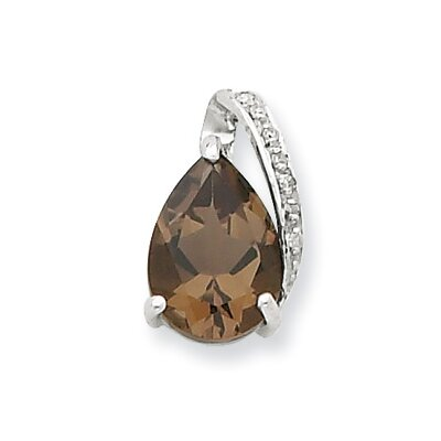 Sterling Silver Rhodium Pear Smokey Quartz Pendant