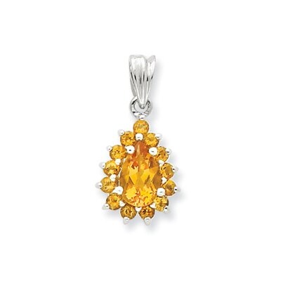 Jewelryweb Sterling Silver Rhodium Citrine Pear-shaped Pendant
