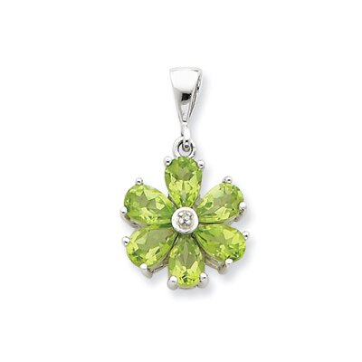 Sterling Silver Rhodium Peridot and Diamond Flower Pendant