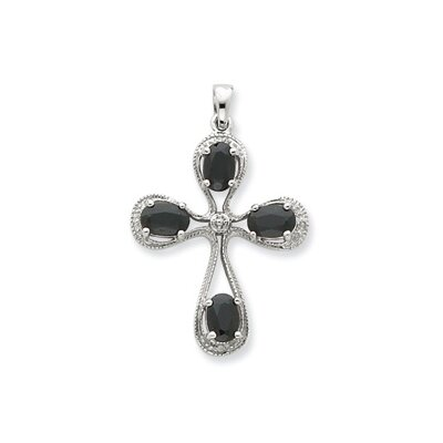 Jewelryweb Sterling Silver Rhodium Dark Sapphire and Diamond Cross Pendant