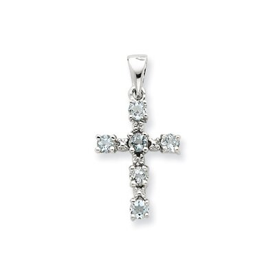 Jewelryweb Sterling Silver Rhodium Aqua and Diamond Cross Pendant