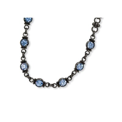 Black-plated Faceted Light Blue Crystal Link 15.5inch With ext Necklace