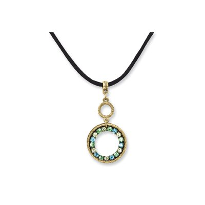 Brass-tone Blue Green and Yellow Crystal Circle 16inch With ext Satin Cord Necklace