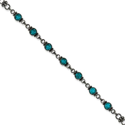 Black-plated Faceted Dark Blue Crystal Link 15.5inch With ext Necklace