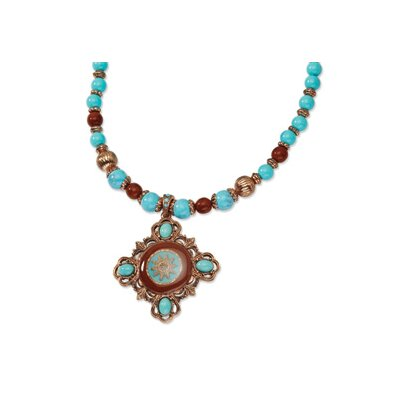 Jewelryweb Copper-tone Aqua and Brown Beads Enameled 16inch With Ext Necklace