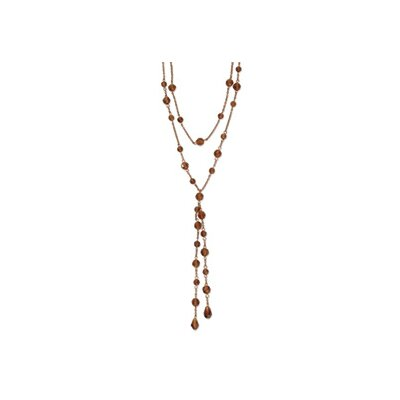 Jewelryweb Copper-tone Colorado Crystal Double Strand 28inch Necklace