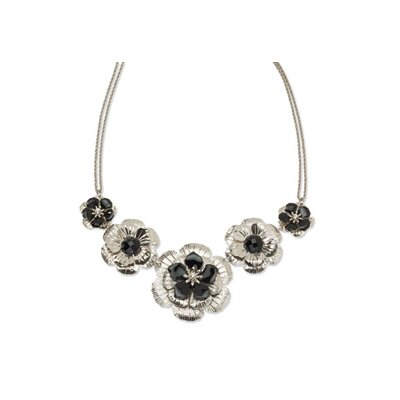 Silver-tone Clear Crystal and Black Enameled Flower 16inch With Ext Necklace
