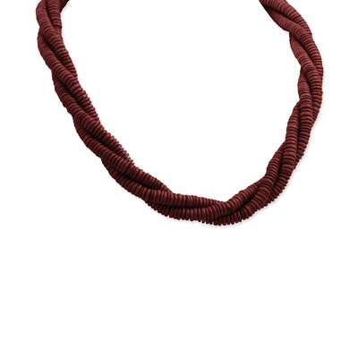 Jewelryweb Red Coconut and Natural Wood Self-tie Necklace