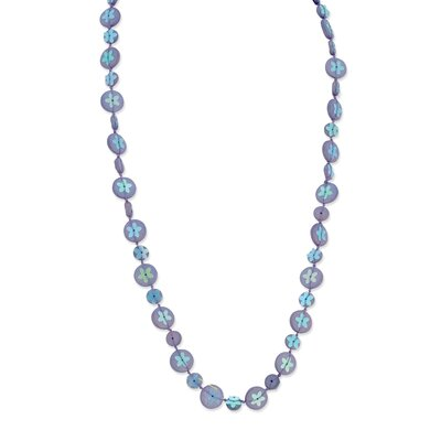 Jewelryweb Purple Hamba Wood Bead Sequin Blue Flowered 30in Necklace
