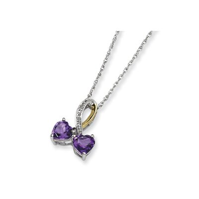 Sterling Silver and 14K Amethyst and Diamond Heart Necklace - 17 Inch