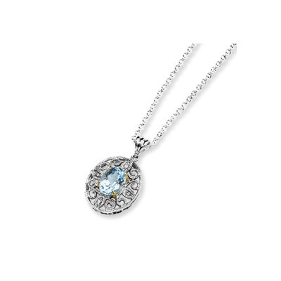 Jewelryweb Sterling Silver and 14K Sky Blue and Diamond Necklace - 18 Inch